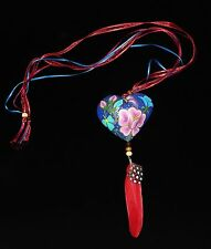 Painted Puffy Wood Heart & Feather necklace Mexican Folk Art Oaxaca Hippie Boho