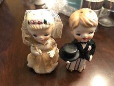 Vintage Salt & Pepper Shakers Japan Bride & Groom high gloss china Brechner