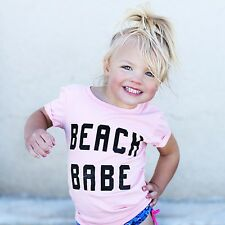 18-24M Pink Newborn Baby Girls Toddler Short Sleeve T-shirt Tee Outfits Clothes