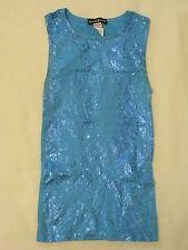 Bebe Metallic Turquoise Blue Snake Print Stretch Top - One Sz Beautiful & Sexy!