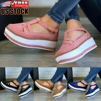 Womens T-Bar Platform Sandals Ladies Summer Ankle Strap Casual Pumps Shoes Sizes