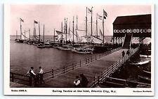 Postcard NJ Atlantic City Sailing Yachts at the Inlet RPPC Davidson Brothers