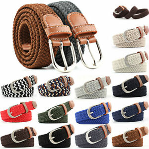 For Mens Women Elasticated Webbing Braided Belts Trim Stretch Canvas Buckle Belt