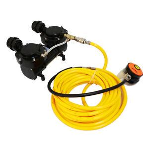 Direct Breath 12V Oil-less Hookah Dive Air Compressor W/ 50FT Hose+Regulator