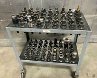Lot of 90 CAT40 Tool Holders for Fadal CNC Vertical Machining Center W/ Cart
