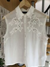 Topshop Vintage Look Sheer & Lace  Top in Ivory Size 12