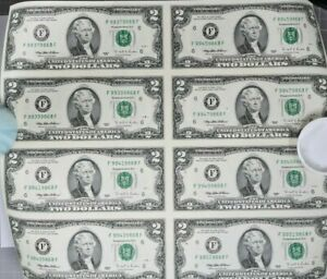 Sheet of 8, 1995 $2 Dollar Federal Reserve Notes in Cylinder. 99c NO RESERVE