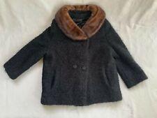 Vintage 1950's black boucle wool swing coat + mink fur collar-M/L