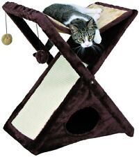 Fold N Store Cat Tree Brown Tower Pet Furniture Scratching Post Bed Play Hide