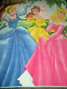 3 Disney Princess Pink Fleece Throw Blanket Cinderella Belle Sleeping Beauty