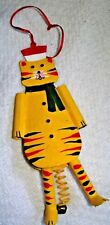 """Hand Painted Yellow 6"""" Tin Kitty Cat  Ornament legs move & Spring Tail w/ Bell"""
