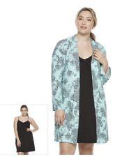 Plus Size 3x Women Night Robe Dress Lingerie Sleepwear Nightwear Gown 2pcs/Set