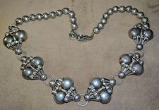 Vintage 925 Modernist TAXCO Sterling Silver Statement Necklace Bench Bead 28g