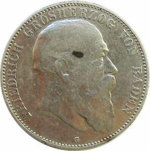Deutsches Kaiserreich  5 Mark 1902 G, Friedrich Grosherzog von Baden