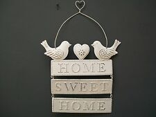 SHABBY CHIC Vintage White Cream HOME SWEET HOME Metal BIRD Heart PLAQUE GIFT