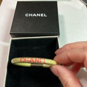 Authentic CHANEL Vinyl Tube Bangle Bracelet Yellow/Pink Used from Japan F/S