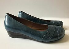 Miz MOOZ Nordstrom Shoes Wedge 8 Womens Blue Wedges Leather Slip On Ballet Flat