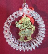 Spun Glass Hanging Christmas Ornament Wreath W/Gold Reticulated Santa 3.5""
