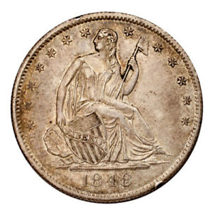 1848-O Silver Seated Liberty Half Dollar 50C (About Uncirculated, AU Condition)