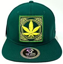 MARIJUANA Leaf Snapback Cap Hat 420 Pot THC Cannabis Weed Green NWT