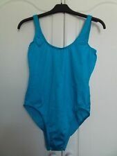 NWOT bright turquoise swimsuit size 12 small sizing, hygiene strip attached