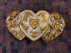CRUMRINE Heavy Silver Plate & Bronze Made USA HEARTS Belt Buckle~WoW!
