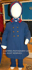 SNOW SUIT W/LEATHER STIRRUPS /BERGDORF GOODMAN  INDIAN BUTTONS VINTAGE BEAUTIFUL