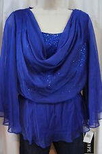 Xscape Top Sz 8 Blue Cowl Neck Sequined Sheer Evening Cocktail Blouse