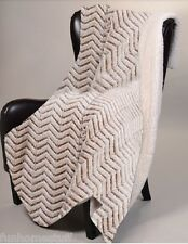"BEIGE CHEVRON ZIGZAG CUTWORK Sherpa Luxury Throw Light Weight Blanket 50"" x 70"""