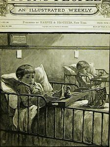 Young People's Cot BOYS in BED w TOYS FLAG DOLLS 1883 Antique Print Matted