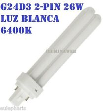 24 x Bombilla Eco G24d3 PLC 2 pin 26w, Luz Blanca 6400K, bajo consumo downlight