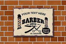 BARBERS SHOP,HAVE YOUR SHOP NAME & DATE ON A, PERSONALISED ENAMELLED METAL SIGN.
