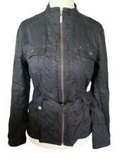 Ladies Julien Macdonald Black Linen Jacket UK 14 VGC Zip Up & Belt   (AA1)