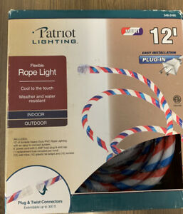 Patriot Red White and Blue Indoor Outdoor Rope Light - 12 Feet New In Box Sealed