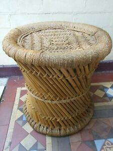 Vintage Cane Wowen Stool Seat Chair Foot Stool  Retro Furniture