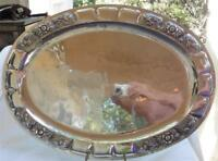 """Vintage Hammered Sterling Silver 925 Tray Large Floral Accent 20.5""""x15"""""""