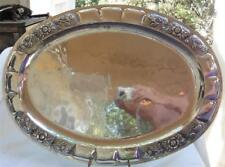 """Antique Vintage Hammered Sterling 925 Tray Large Flowers Accent 20.5""""x15"""""""