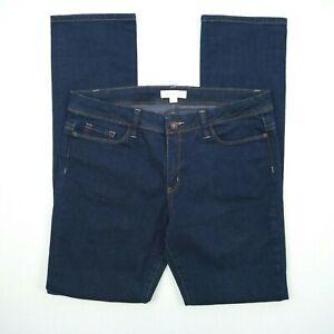TRENERY Slim Straight Mid Rise Dark Blue Stretch Denim Jeans Women's Size 12 W34