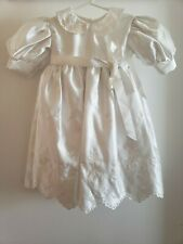 Infant Baby Girls White Satin Christening Baptism Gown Dress Embroidered Lined