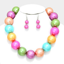 """Pearl Necklace SET Chunky 1.25"""" Bead Collar Celebrity Fashion Statement MULTI"""