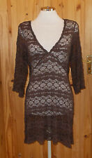 PER UNA M&S chocolate brown lace 3/4 sleeve sun dress tunic top holiday 14 42