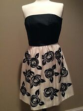 White House Black Market Rose Print Strapless Silk Dress Size 2