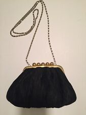 CARLA MARCHI Black Evening Bag Purse Handbag Fancy Unique Closure