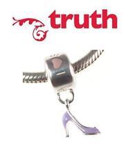 Genuine TRUTH PK 925 sterling silver PURPLE I LOVE SHOES dangle charm bead