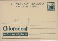 Italia 1951, cartolina postale CHLORODONT L.15 verde, firm. Sorani, nuova (c19)