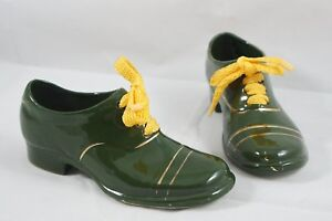 Vintage Old German Pair Green Gold Oxford Dress Shoes Yellow Laces Slight Heel