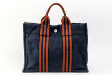 Authentic HERMES Fourre Tout PM Cotton Canvas Hand Tote Bag Navy Brown #20868YER