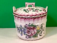 Antique Hand Painted French Faience Lidded Butter Dish