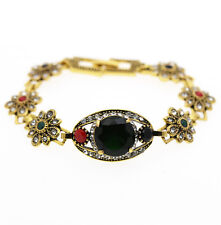 Luxury Lady Vintage Style Emerald Green Red Circles Antique Gold Bracelet BB197