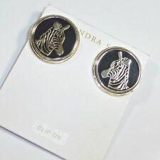 Kendra Scott Zebra 14K Gold Black Plate Earrings Bowen Round New
